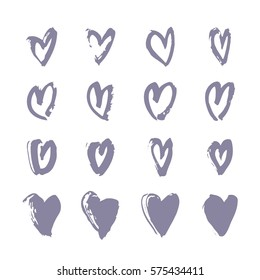 Set of Hand drawn paint heart. Violet and white romantic card. Abstract brush drawing. Grunge Vector art illustration