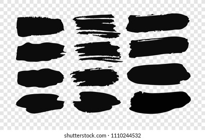 Set of hand drawn paint object for design use. Black on transparent background. Abstract brush drawing. Vector art illustration grunge splashes, drops, stains, frames, blot