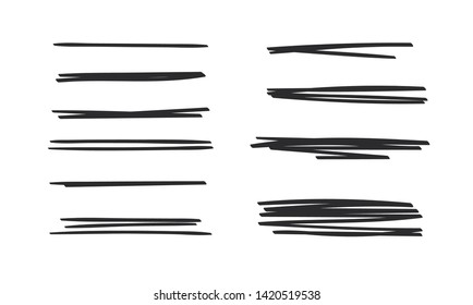 Set of hand drawn paint object. Abstract doodle lines, pencil drawing stripes for design use. Black elements on white background