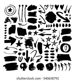 Set of hand drawn paint object for design use. Black elements on white background. Abstract brush drawing. Vector art illustration grunge splashes, drops, stains, frames, arrows, hearts, stars, blot