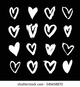 Set of hand drawn paint object for design use. Acid colors on black background. Abstract brush drawing. Vector art illustration grunge hearts