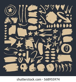 Set of hand drawn paint object for design use. Abstract brush drawing. Vector art illustration grunge splashes, drops, stains, frames, arrows, hearts, stars, blot