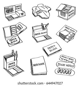 Set of hand drawn paper products doodles isolated on a white background. Vector illustrations of paper blocks, notebook, sticky notes.