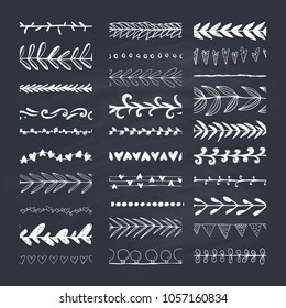 Set of hand drawn pattern brushes. Natural vector brushes.
