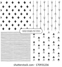 Set of hand drawn patterns. Vector