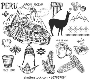 Set of hand drawn Peruvian symbols and elements.