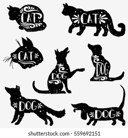 Set of hand drawn pets with grunge texture. Cats and dogs silhouette collection. Vector.