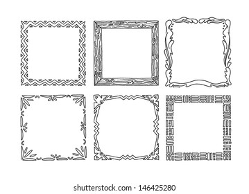 Set of hand drawn picture frames.