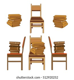 Set of hand drawn pictures of books in piles laying on chairs. Side view and front view. colorful version. vector illustration