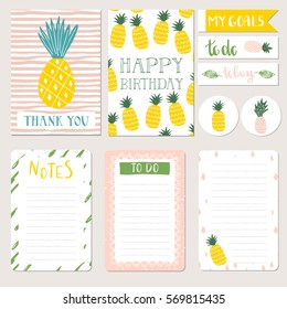 Set of hand drawn pineapple cards and planners