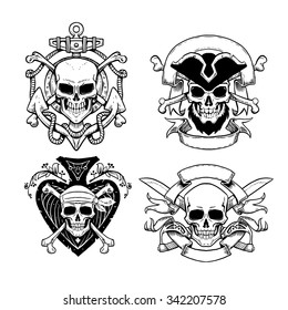 Set of hand drawn pirate emblems with skull. Logos skulls in vintage style