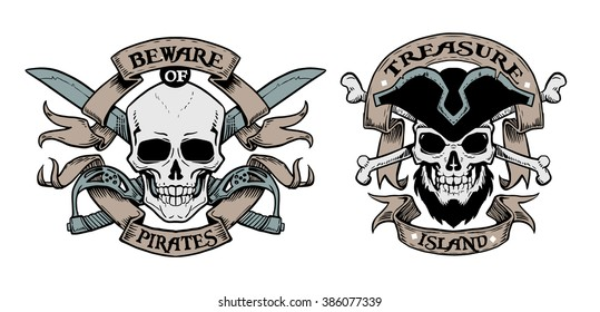 Set of hand drawn pirate emblems with skull and lettering. Logos skulls in vintage style
