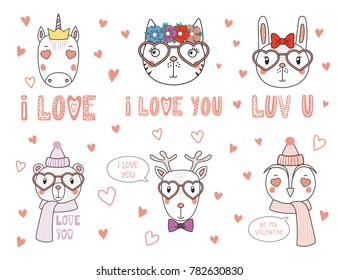 Hand Drawn Vector Portrait Cute Funny Stock Vector Royalty Free