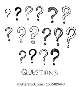 Set of hand drawn question marks. doodle questions marks set. vector illustration.