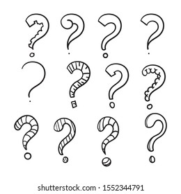 Set of hand drawn question marks. doodle questions marks set. vector illustration.line art style