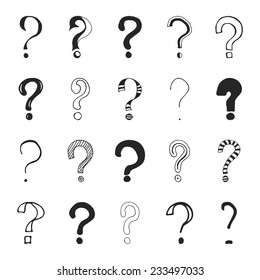 Set of hand drawn question marks. Vector illustration.