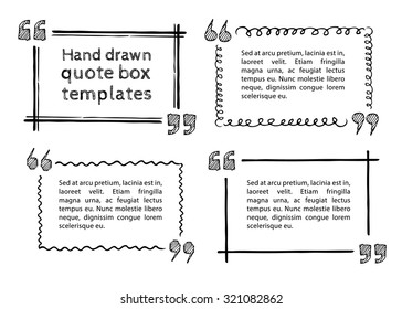Set of hand drawn quote boxes with text isolated on white background. Doodle style. Quote, commas, message, quote blank, template. Editable vector. Quote bubble. Quote form.