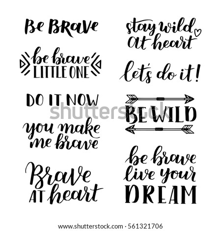 Set Hand Drawn Quotes About Courage Stock Vector Royalty Free Stunning Quotes Courage