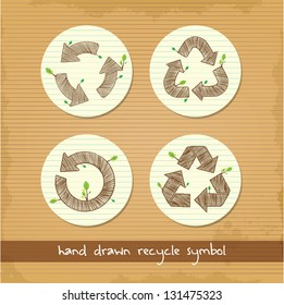set of hand drawn recycle symbol
