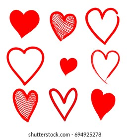 Set of Hand Drawn Red Hearts in Grunge Style. Different Shape & Design. Vector Illustration