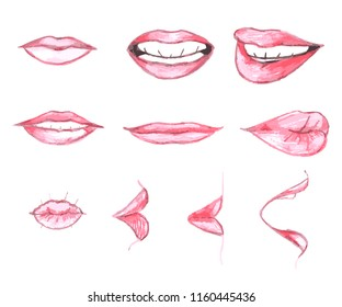 Set of Hand drawn red lips and smileys, sketched with colored pencils on white