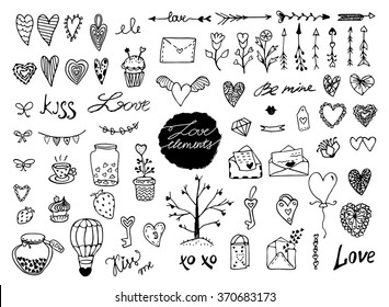 Set of hand drawn romantic elements
