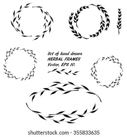 Set of hand drawn round floral framework of willow branches and blades in the doodle sketch style. Vector, EPS 10.