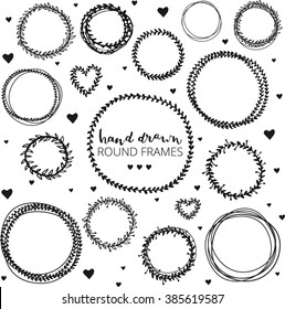 Set of hand drawn round frames. Ink illustration. Herbal frames-wreaths. Hand drawn wreath. Hand drawn vintage frames.