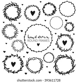 Set of hand drawn round frames. Ink illustration. Herbal frames-wreaths. Hand drawn wreath. Hand drawn vintage frames.