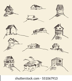 Set of hand drawn rural houses, vector illustration
