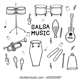 Set of hand drawn salsa musical instruments isolated on white background. Vector illustration.