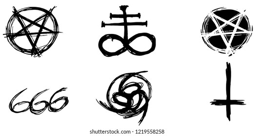 Set of hand drawn satanic occult signs and mystic symbols. Inverted pentagram, 666, number of the beast, leviathan cros and inverted cros. Can be used for mobile, infographic, website, app or tattoo.