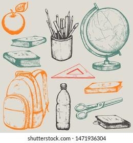 Set of hand drawn  school items: globe, school backpack, ruler, pens, felt-tip pens, pencils, paint brush, bottle of water, scissors, textbooks, books. Gray, orange, green, red.