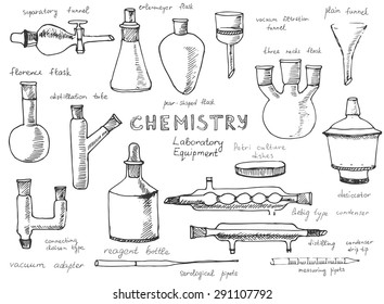 Set of hand drawn science chemical equipment, Chemistry education research laboratory tool, chemical funnel, flask, adapters, desiccator, Vector illustration.