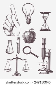 Set of hand drawn science objects. Vectorial isolated elements.