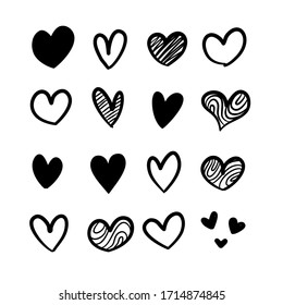 Set of hand drawn scribble hearts.