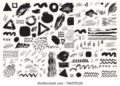 Set of hand drawn scribbles vector. Vector ink brush shapes. Isolated design elements for your design.