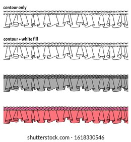 Set of hand drawn seamless border with frills, ribbon and lace in four versions. Decorative isolated endless vector illustration