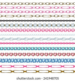 Set of hand drawn seamless borders - chains and gemstones. Cartoon style.