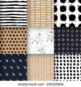 Set of hand drawn seamless patterns with shapes, stripes, waves, polka dot, leafs, splashes. Vector backgrounds in minimalist scandinavian design.