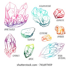 Set of hand drawn semiprecious stones: jade, rock crystal, citrine, amethyst, aquamarine, granite, amber, quartz, garnet. Trendy hipster retro background, A collection of cut shapes. Science. Vector.