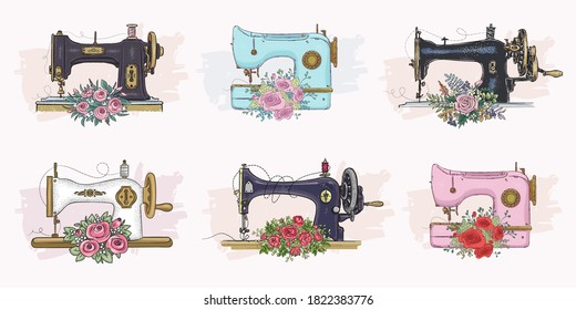 Set of hand drawn sewing machines. Vector illustration