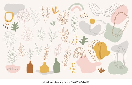 Set of hand drawn shapes and linear botanical illustrations. Tropical leaves and branches. Abstract contemporary modern elements. Terracotta Art Print, Burnt orange, dusty pink. Posters, social media.