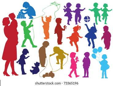 Set of hand drawn silhouettes of  children (kids) and mother and the baby, children play, dance, walk, give flowers, reflect. Vector illustration.