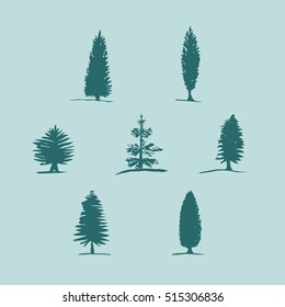 Set of hand drawn sketch blue trees - pine, fir tree, cypress.