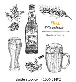 Set hand drawn sketch bottle and glasses beer, hop, wheat Vintage design bar, restaurant, cafe menu on white background. Graphic vector art Creative template for flyer, banner, poster Engraving style