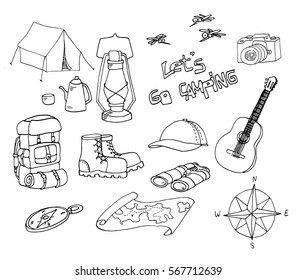 Set of hand drawn sketch camping equipment symbols and icons. Doodle elements, vector illustration. Set of outdoor elements.