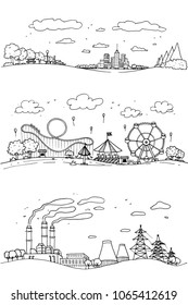 set of hand drawn sketch doodle City, factory , amusement park and buildings. Drawn in black ink on white background