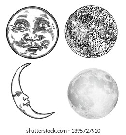 Set of hand drawn sketch of moon human like face or anthropomorphic planet and realistic stipple of the crescent  moon , isolated on white. Detailed vintage style stipple drawing. Vector.