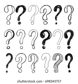 Set of hand drawn Sketch question marks. Vector illustration